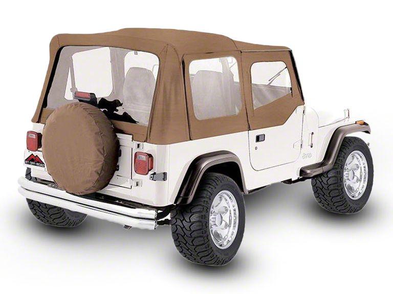 RT Off-Road OEM Replacement Soft Top w/ Windows & Door Skins - Spice (88-95 Jeep Wrangler YJ w/ Soft Upper Doors)