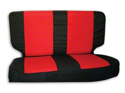 RT Off-Road Rear Seat Cover - Black/Red (87-02 Jeep Wrangler YJ & TJ)