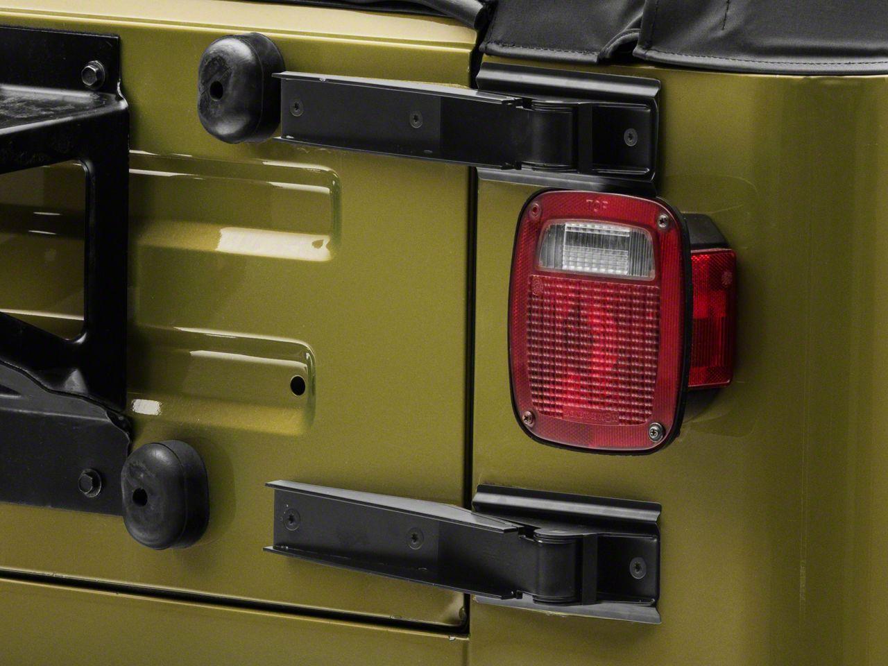 Omix-ADA Tailgate Hinge Set - Black (97-06 Jeep Wrangler TJ)