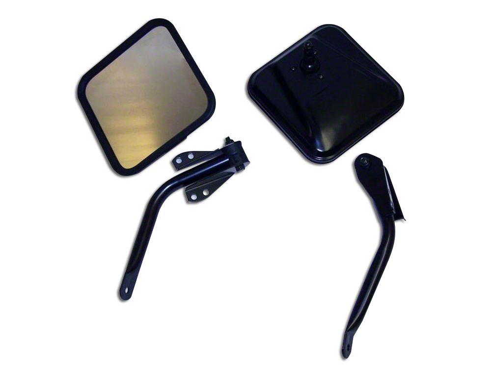 Omix-ADA Black Side Windshield Mirror Kit - Pair (87-95 Jeep Wrangler YJ)