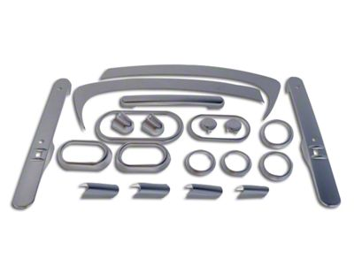 RT Off-Road Interior Trim Kit - Brushed Silver (07-10 Jeep Wrangler JK 2 Door w/ Power Windows & Automatic Transmission)