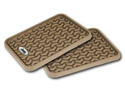 Rugged Ridge All-Terrain Rear Floor Mats w/ Jeep Logo - Tan (87-19 Jeep Wrangler YJ, TJ, JK & JL)