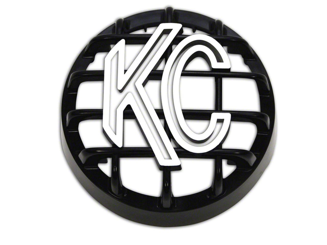 KC HiLiTES 4 in. Round Stone Guard for Rally 400 - Black w/ White KC Logo (87-19 Jeep Wrangler YJ, TJ, JK & JL)