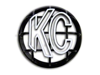 KC HiLiTES 5 in. Round Stone Guard for Apollo Series - Black w/ White KC Logo (87-18 Jeep Wrangler YJ, TJ, JK & JL)