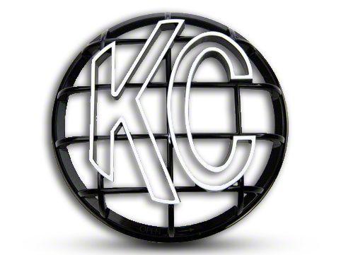 KC HiLiTES 6 in. Round Stone Guard for Apollo Series - Black w/ White KC Logo (87-19 Jeep Wrangler YJ, TJ, JK & JL)