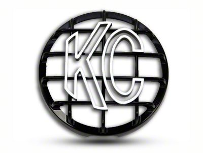KC HiLiTES 6 in. Round Stone Guard for Daylighter & Slimlite - Black w/ White KC Logo (87-19 Jeep Wrangler YJ, TJ, JK & JL)