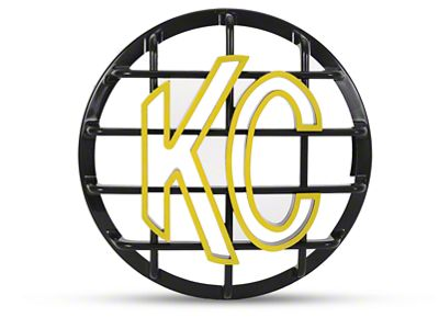 KC HiLiTES 6 in. Round Stone Guard for Daylighter & Slimlite - Black w/ Yellow KC Logo (87-18 Jeep Wrangler YJ, TJ, JK & JL)