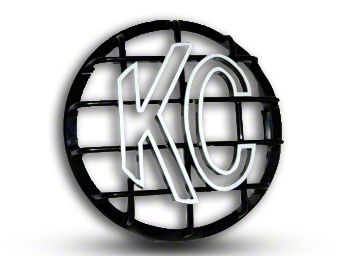 KC HiLiTES 8 in. Round Stone Guard for Rally 800 & Pro Sport - Black w/ White KC Logo (87-18 Jeep Wrangler YJ, TJ, JK & JL)