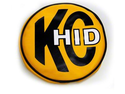 KC HiLiTES 8 in. Soft Vinyl Cover for Round Lights - Yellow w/ KC HID Logo (87-18 Jeep Wrangler YJ, TJ, JK & JL)
