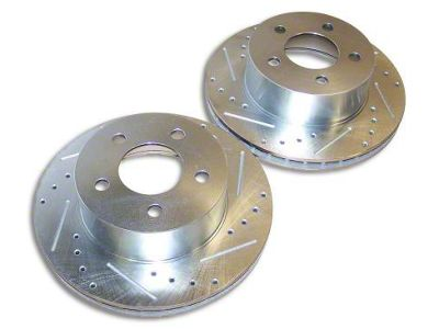 RT Off-Road Drilled & Slotted Brake Rotors - Front Pair (90-06 Jeep Wrangler YJ & TJ)