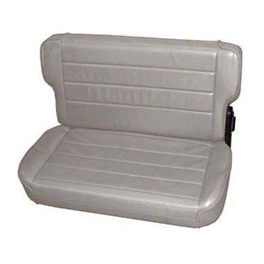 Smittybilt Rear Fold & Tumble Seat - Charcoal Light Gray Denim (87-95 Jeep Wrangler YJ)