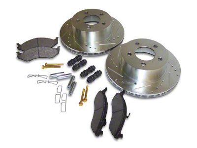 RT Off-Road Performance Drilled & Slotted Brake Rotor & Pad Kit - Front (90-06 Jeep Wrangler YJ & TJ)