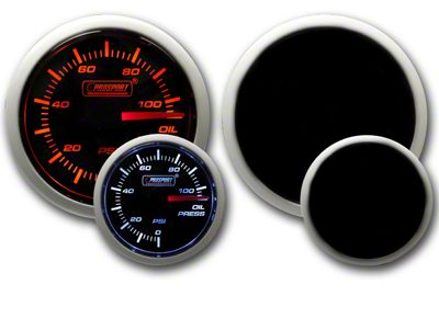 Prosport Dual Color Oil Pressure Gauge - Electrical - Amber/White (97-18 Jeep Wrangler TJ, JK & JL)