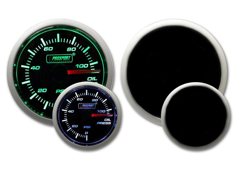 Prosport Dual Color Oil Pressure Gauge - Electrical - Green/White (97-18 Jeep Wrangler TJ, JK & JL)