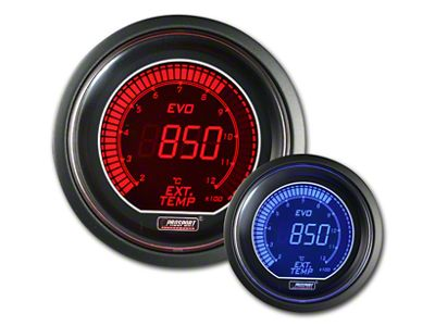Prosport Dual Color Evo Exhaust Gas Temperature Gauge - Electrical - Red/Blue (97-18 Jeep Wrangler TJ, JK & JL)