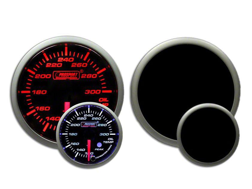 Prosport Dual Color Premium Oil Temperature Gauge - Amber/White (97-18 Jeep Wrangler TJ, JK & JL)
