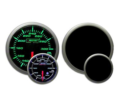 Prosport Dual Color Premium Oil Temperature Gauge - Green/White (97-18 Jeep Wrangler TJ, JK & JL)
