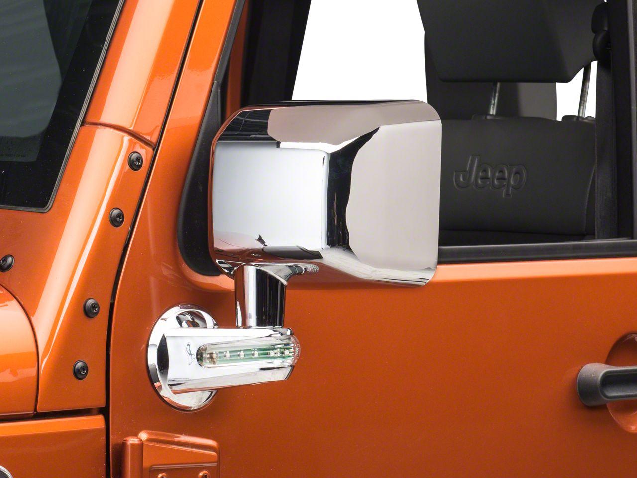 Rugged Ridge Chrome Left Side Mirror w/ LED Turn Signal Indicators (07-10 Jeep Wrangler JK)