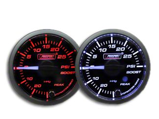Prosport Dual Color Premium White Pointer Boost Gauge - Amber/White (97-18 Jeep Wrangler TJ, JK & JL)