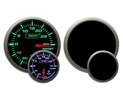 Prosport Dual Color Premium White Pointer Boost Gauge - Green/White (97-18 Jeep Wrangler TJ, JK & JL)