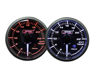 Prosport Dual Color Premium White Pointer EGT Gauge - Amber/White (97-18 Jeep Wrangler TJ, JK & JL)
