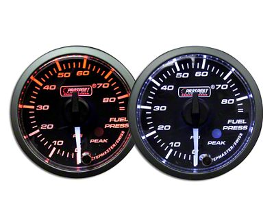 Prosport Dual Color Premium White Pointer Fuel Pressure Gauge - Amber/White (97-18 Jeep Wrangler TJ, JK & JL)