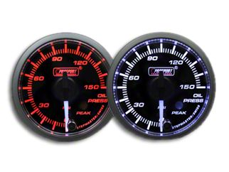 Prosport Dual Color Premium White Pointer Oil Pressure Gauge - Amber/White (97-18 Jeep Wrangler TJ, JK & JL)
