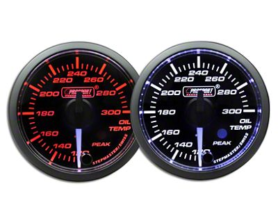 Prosport Dual Color Premium White Pointer Oil Temperature Gauge - Amber/White (97-18 Jeep Wrangler TJ, JK & JL)