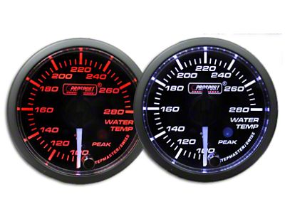 Prosport Dual Color Premium White Pointer Water Temperature Gauge - Amber/White (97-18 Jeep Wrangler TJ, JK & JL)