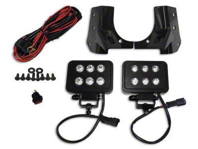 RT Off-Road 4 in. Block LED Lights w/ Windshield Mounting Brackets (97-06 Jeep Wrangler TJ)