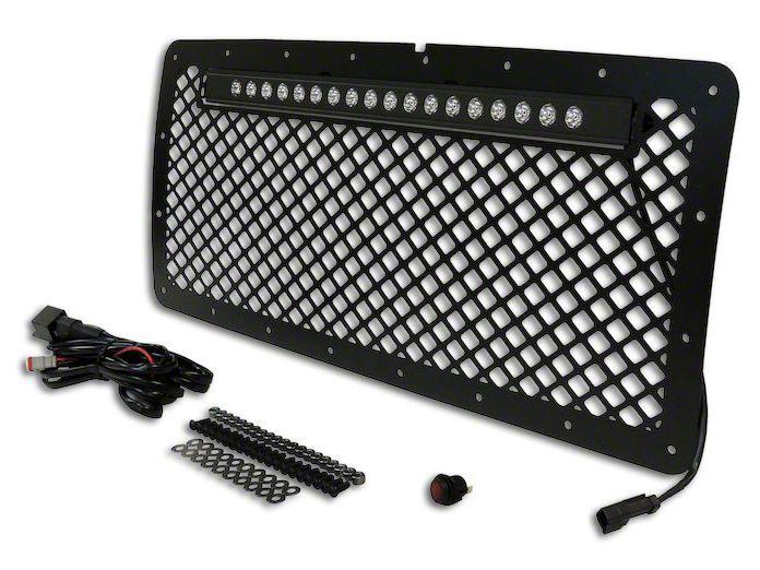 RT Off-Road Aluminum Grille w/ 20 in. LED Light Bar - Matte Black (07-18 Jeep Wrangler JK)