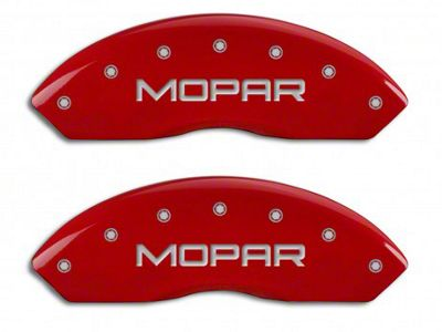 MGP Red Caliper Covers w/ MOPAR Logo - Front & Rear (03-06 Jeep Wrangler TJ w/ Rear Disc Brakes)