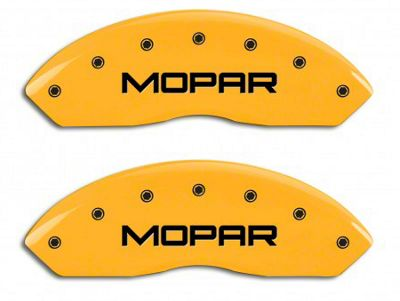 MGP Yellow Caliper Covers w/ MOPAR Logo - Front & Rear (03-06 Jeep Wrangler TJ w/ Rear Disc Brakes)