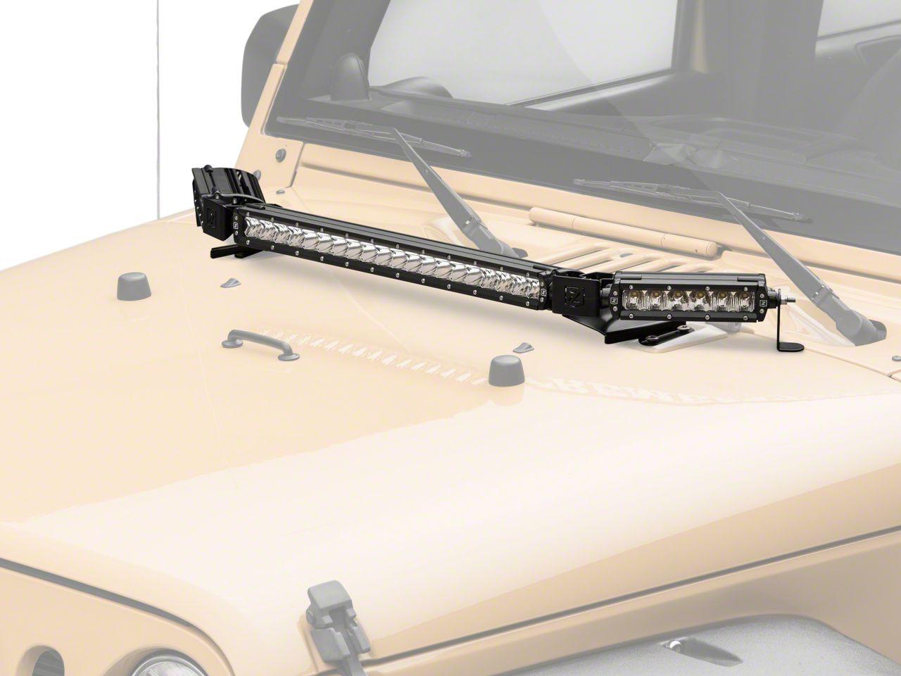 ZRoadz 6 in. & 20 in. LED Light Bars w/ Hood Hinge Mounting Brackets (07-18 Jeep Wrangler JK)