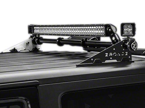 ZRoadz Rear Roof Modular Rack MegaWatt Mounting System w/ 40 in. LED Light Bar, 20 in. LED Light Bar, and Two 3 in. LED Light Cubes (07-18 Jeep Wrangler JK)