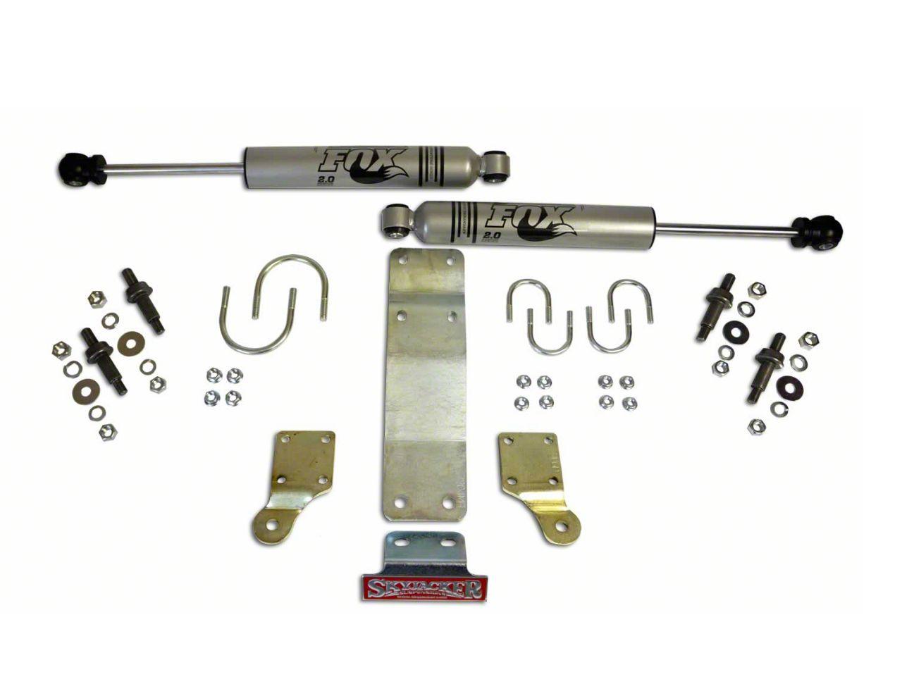 SkyJacker Standard Clearance Fox Dual Steering Stabilizer Kit for 1.75 in. OD Tie Rod Tube (07-18 Jeep Wrangler JK)