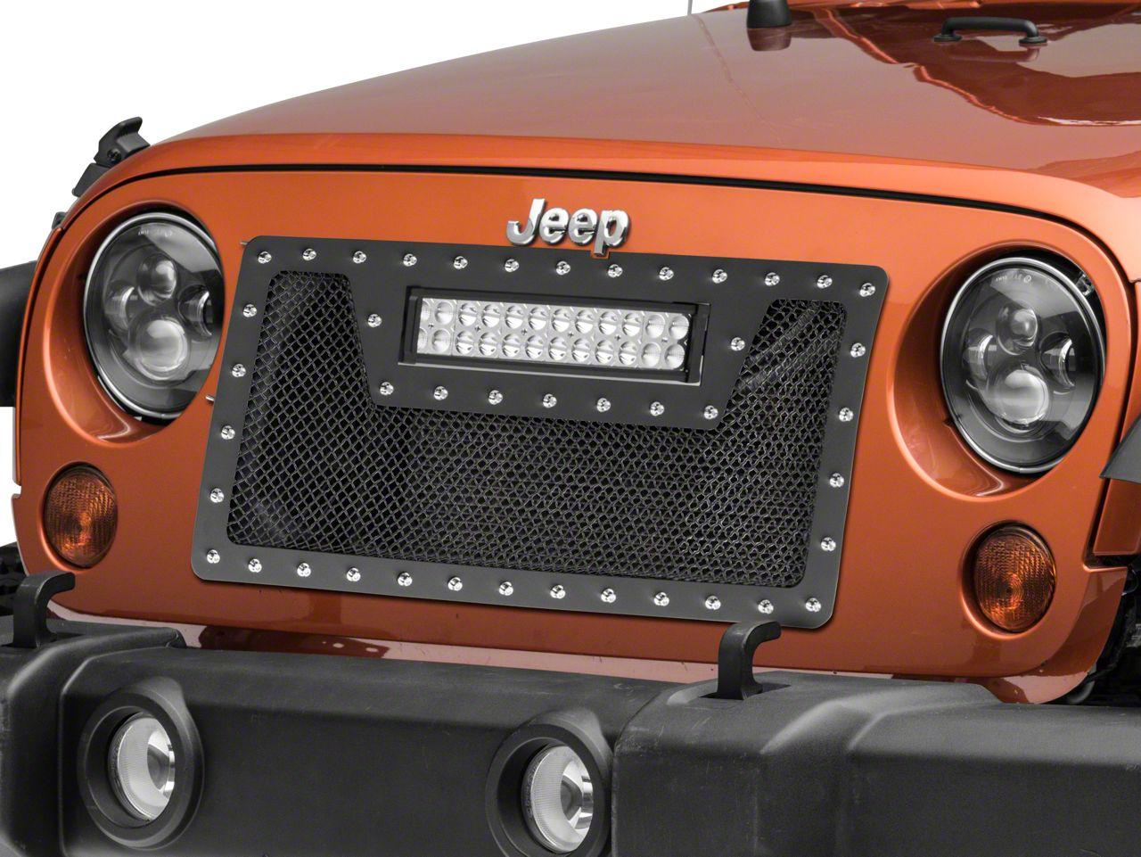 Wire Mesh Cutout Grille w/ Rivets & LED Light Bar - Black (07-18 Jeep Wrangler JK)