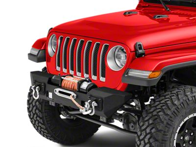 RedRock 4x4 Max-HD Stubby Front Bumper w/ LED Fog Lights & Winch Mount (18-19 Jeep Wrangler JL)