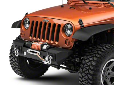 RedRock 4x4 Max-HD Stubby Front Bumper w/ LED Fog Lights & Winch Mount (07-18 Jeep Wrangler JK)
