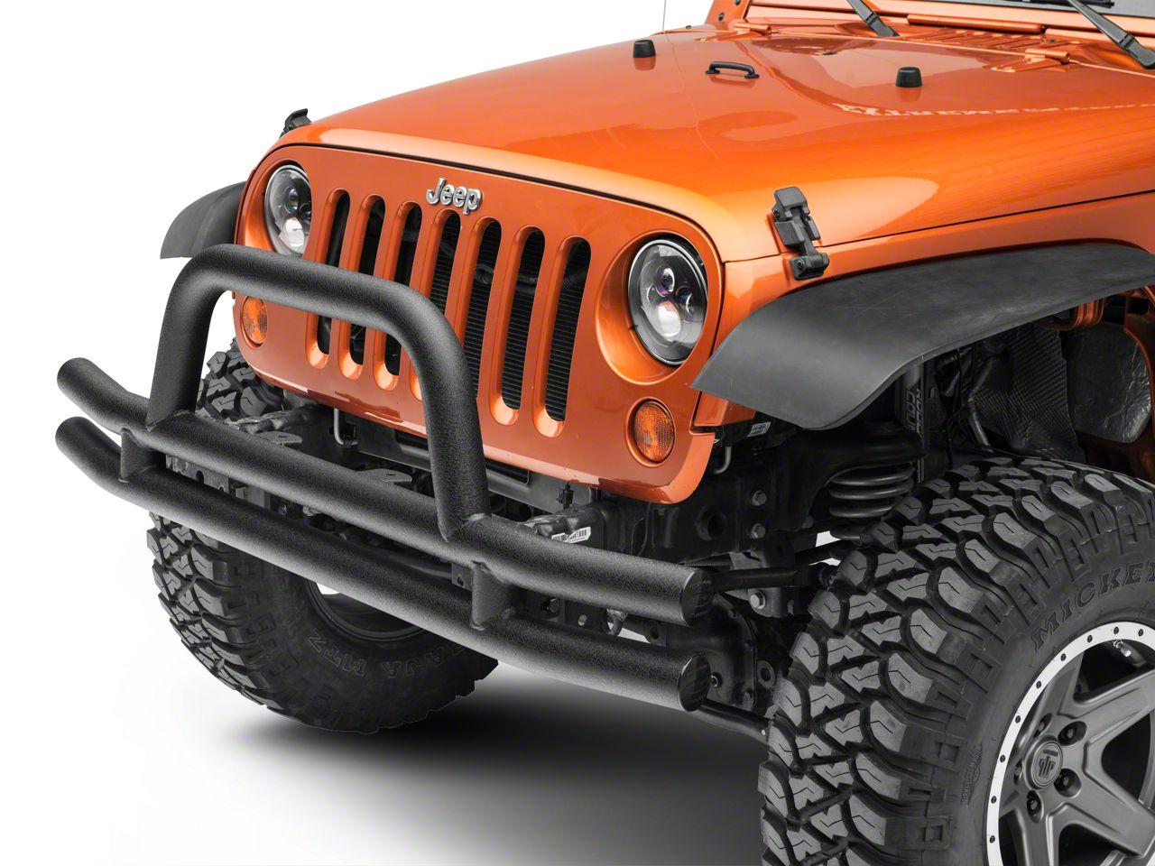 Smittybilt Tubular Front Bumper w/ Hoop - Textured Black (07-18 Jeep Wrangler JK)