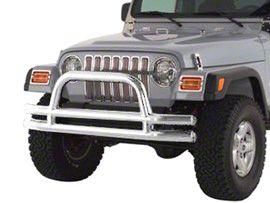 Smittybilt Front Tubular Bumper w/ Hoop - Stainless Steel (87-06 Jeep Wrangler YJ & TJ)