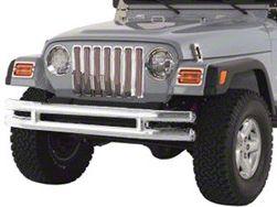 Smittybilt Front Tubular Bumper w/o Hoop - Stainless Steel (87-06 Jeep Wrangler YJ & TJ)