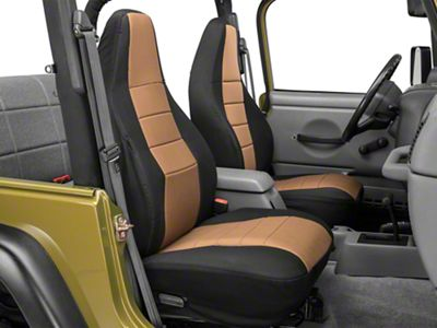Rugged Ridge Custom Fabric Front Seat Covers - Tan/Black (97-02 Jeep Wrangler TJ)