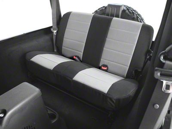 Rugged Ridge Custom Fabric Rear Seat Cover - Gray/Black (03-06 Jeep Wrangler TJ)