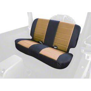 Rugged Ridge Custom Fabric Rear Seat Cover - Tan/Black (97-02 Jeep Wrangler TJ)