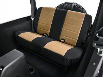 Rugged Ridge Custom Fabric Rear Seat Cover - Tan/Black (03-06 Jeep Wrangler TJ)