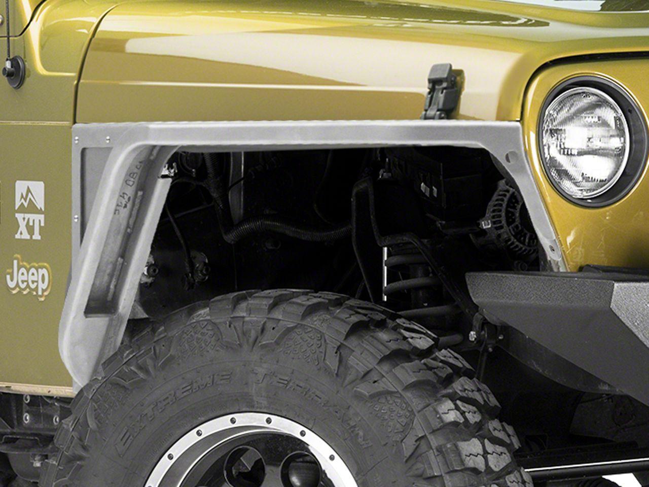 Poison Spyder 3 in. Front DeFender Tapered Fender Flares - Bare Steel (97-06 Jeep Wrangler TJ)