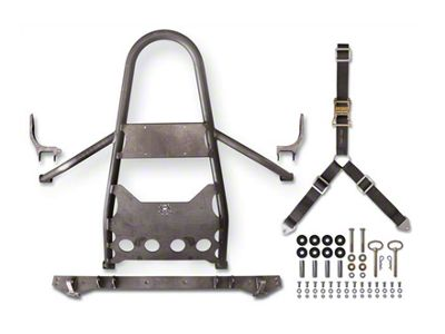 Poison Spyder Rear Stinger Tire Carrier for 1 in. Body Lift - Bare Steel (97-06 Jeep Wrangler TJ)