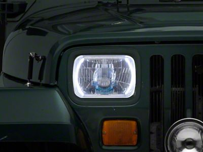 Delta Rectangular H4 Xenon Conversion Headlights w/ Halos (87-95 Jeep Wrangler YJ)