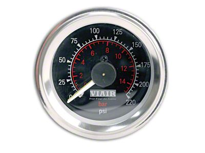 Viair Dual Needle Air Pressure Gauge - Black Face (87-19 Jeep Wrangler YJ, TJ, JK & JL)